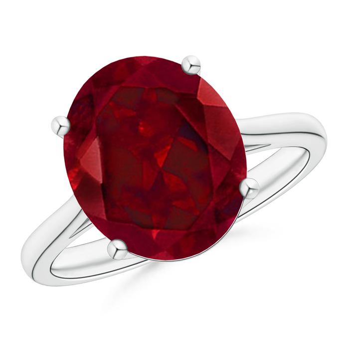 Classic Prong Set Solitaire Oval Garnet Cocktail Ring - Angara.com