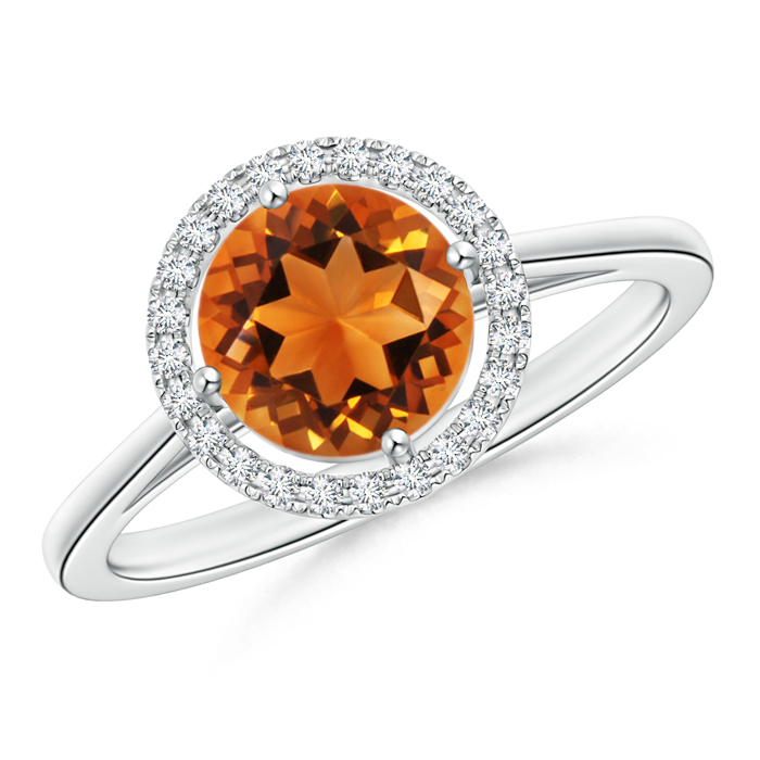 Cathedral Floating Round Citrine Halo Ring with Diamond - Angara.com