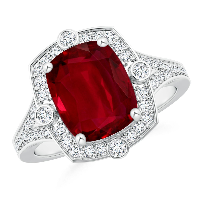 Ruby and Diamond Compass Halo Ring (GIA Certified Ruby) - Angara.com