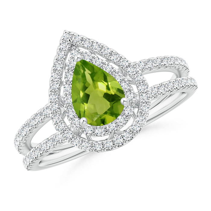 Split Shank Pear Peridot and Diamond Double Halo Ring - Angara.com