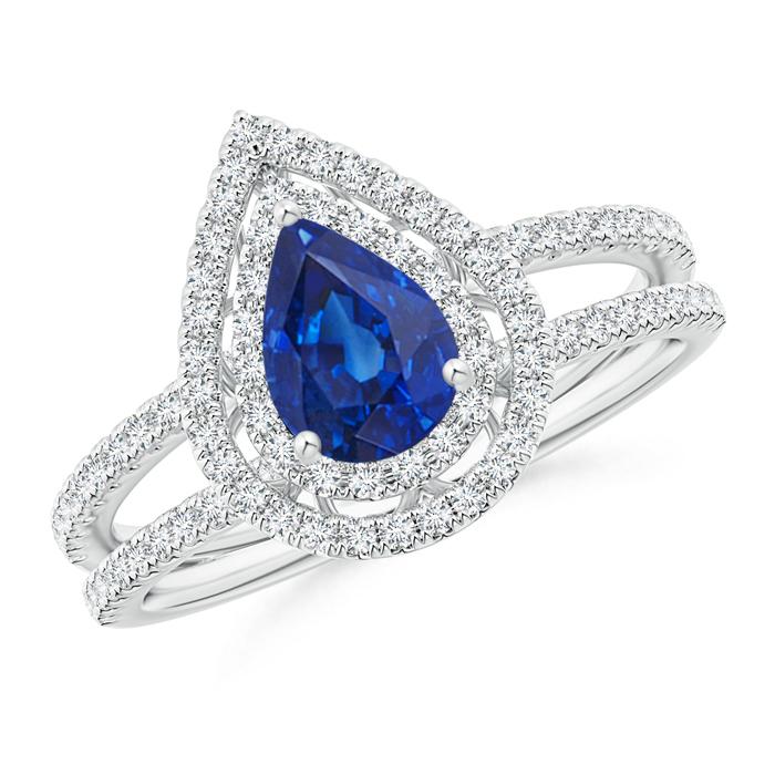 Split Shank Pear Sapphire and Diamond Double Halo Ring - Angara.com