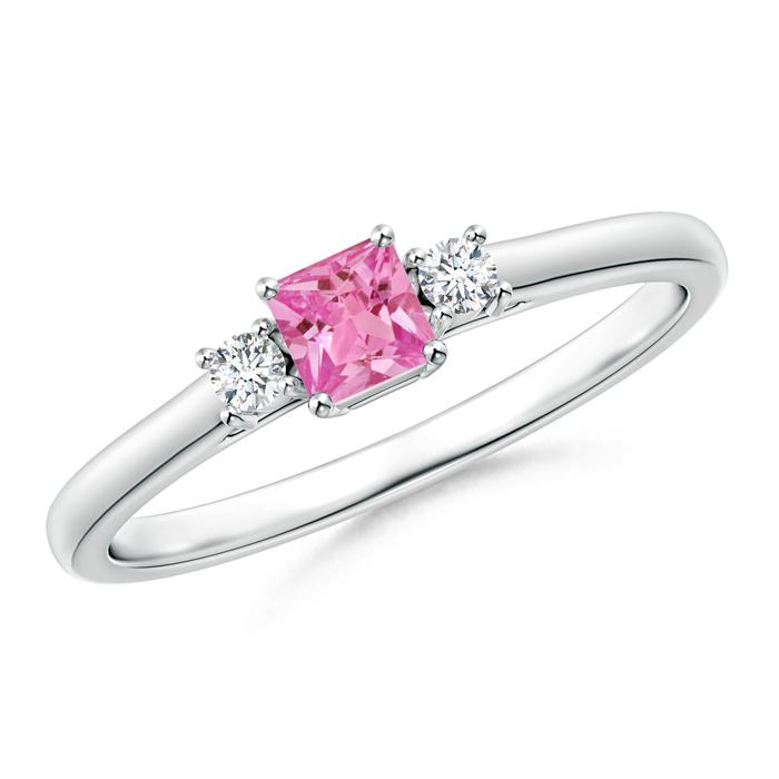 Classic Square Pink Sapphire and Diamond Three Stone Ring - Angara.com