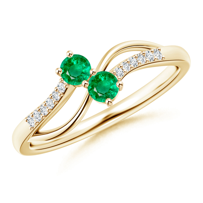 Split Shank Classic Two Stone Emerald Bypass Ring with Diamond Accent - Angara.com