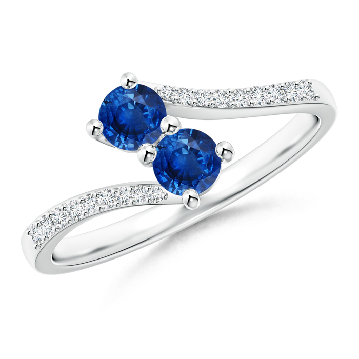 2 Stone Blue Sapphire Bypass Ring with Diamond Accent - Angara.com
