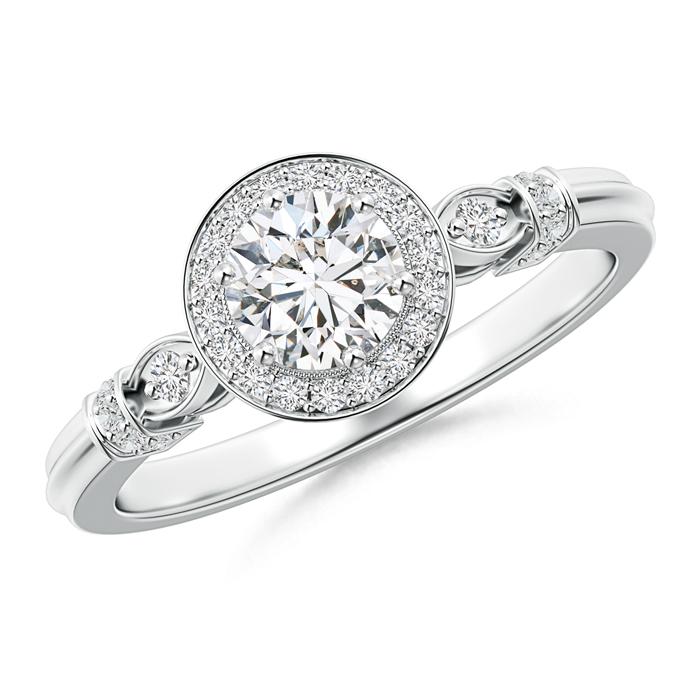 Vintage Diamond Circle Ring with Diamond Shoulders - Angara.com