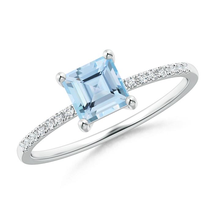 Square Cut Aquamarine with Diamond Studded Shank Solitaire Ring - Angara.com