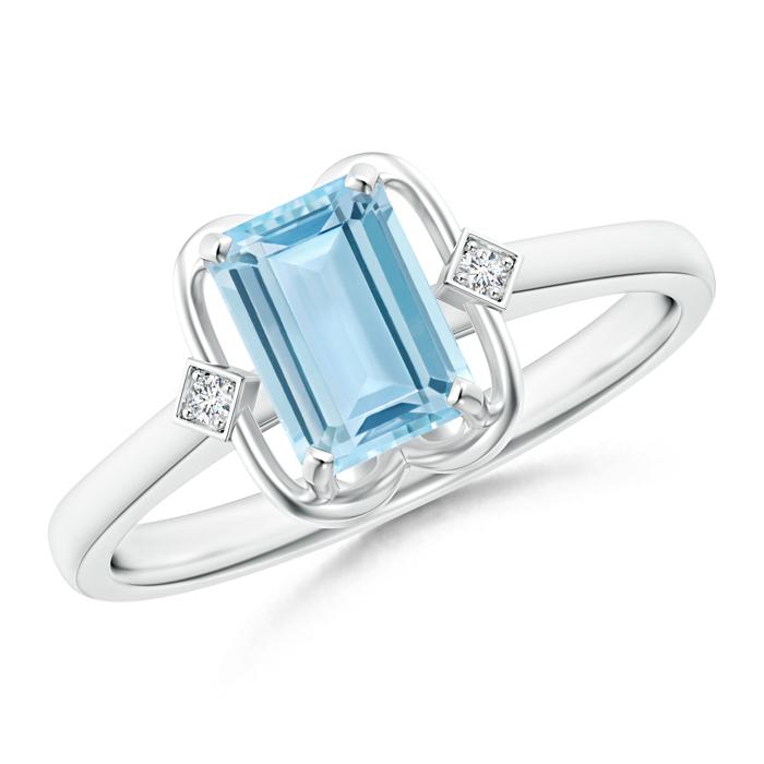 Emerald Cut Aquamarine with Round Diamond Accent Ring - Angara.com
