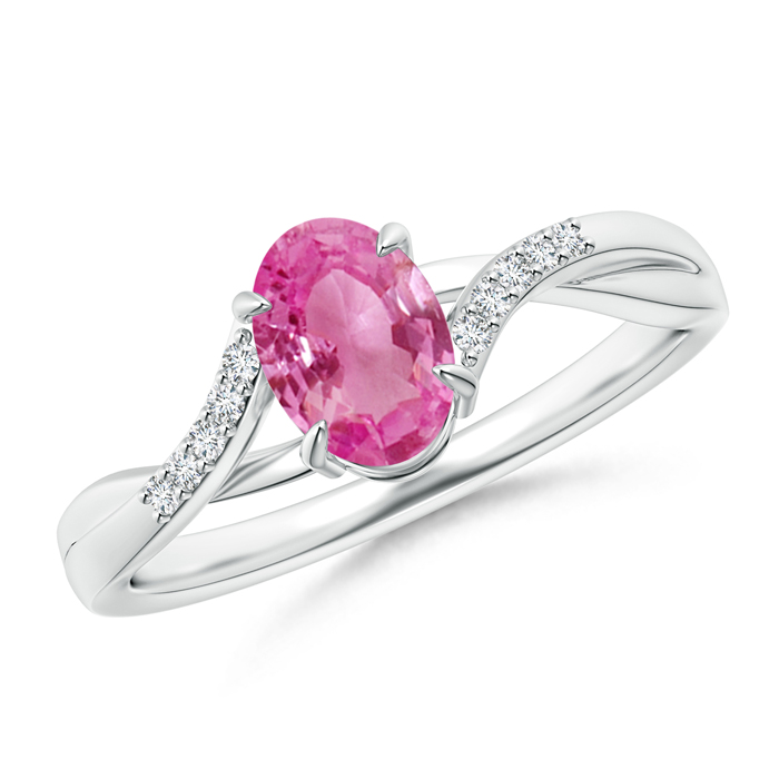 Oval Pink Sapphire Split Shank Ring with Diamond Accent - Angara.com