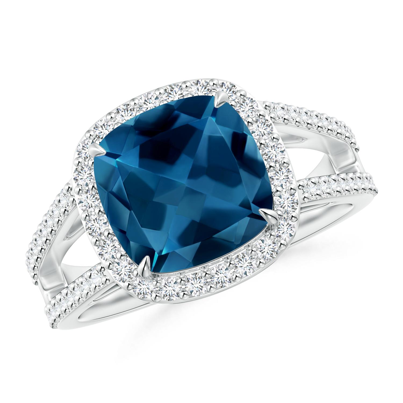 Cushion London Blue Topaz Split Shank Ring with Diamond Halo - Angara.com