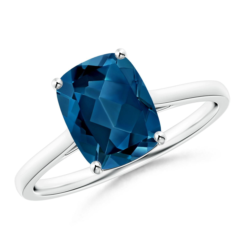 Tapered Shank Cushion London Blue Topaz Solitaire Ring - Angara.com
