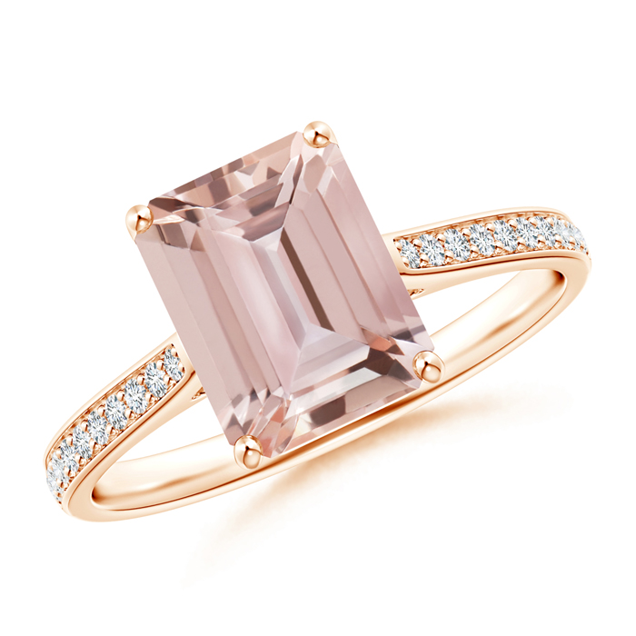 Emerald Cut Morganite Cocktail Ring with Diamond Accents - Angara.com