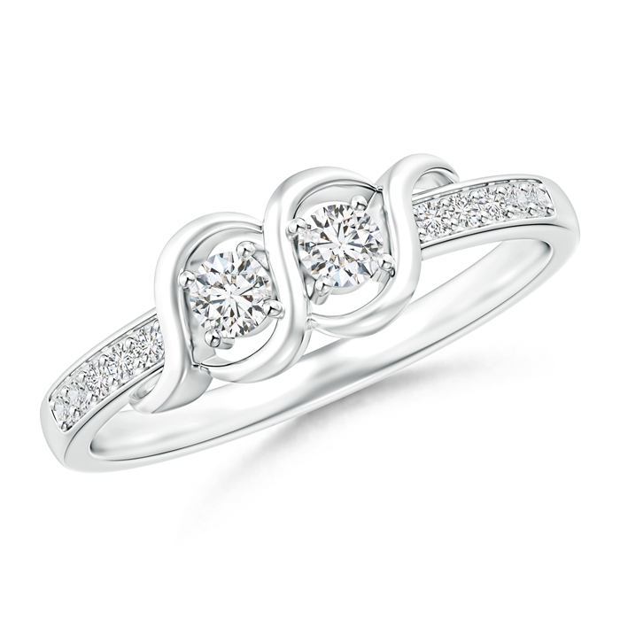 Twisted Two Stone Diamond Wrap Ring with Diamond Accents - Angara.com