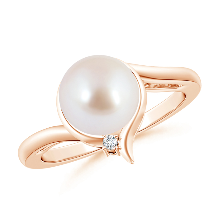 Contemporary Akoya Cultured Pearl Solitaire Ring with Diamond - Angara.com