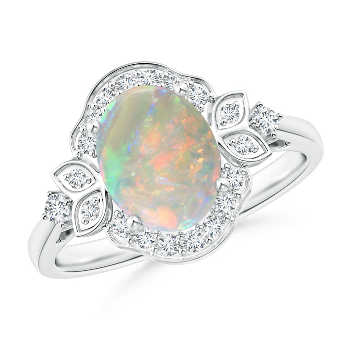 Victorian Style Oval Opal and Diamond Halo Engagement Ring - Angara.com