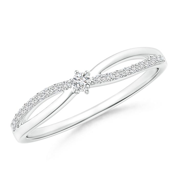 Prong Set Round Diamond Split Shank Promise Ring