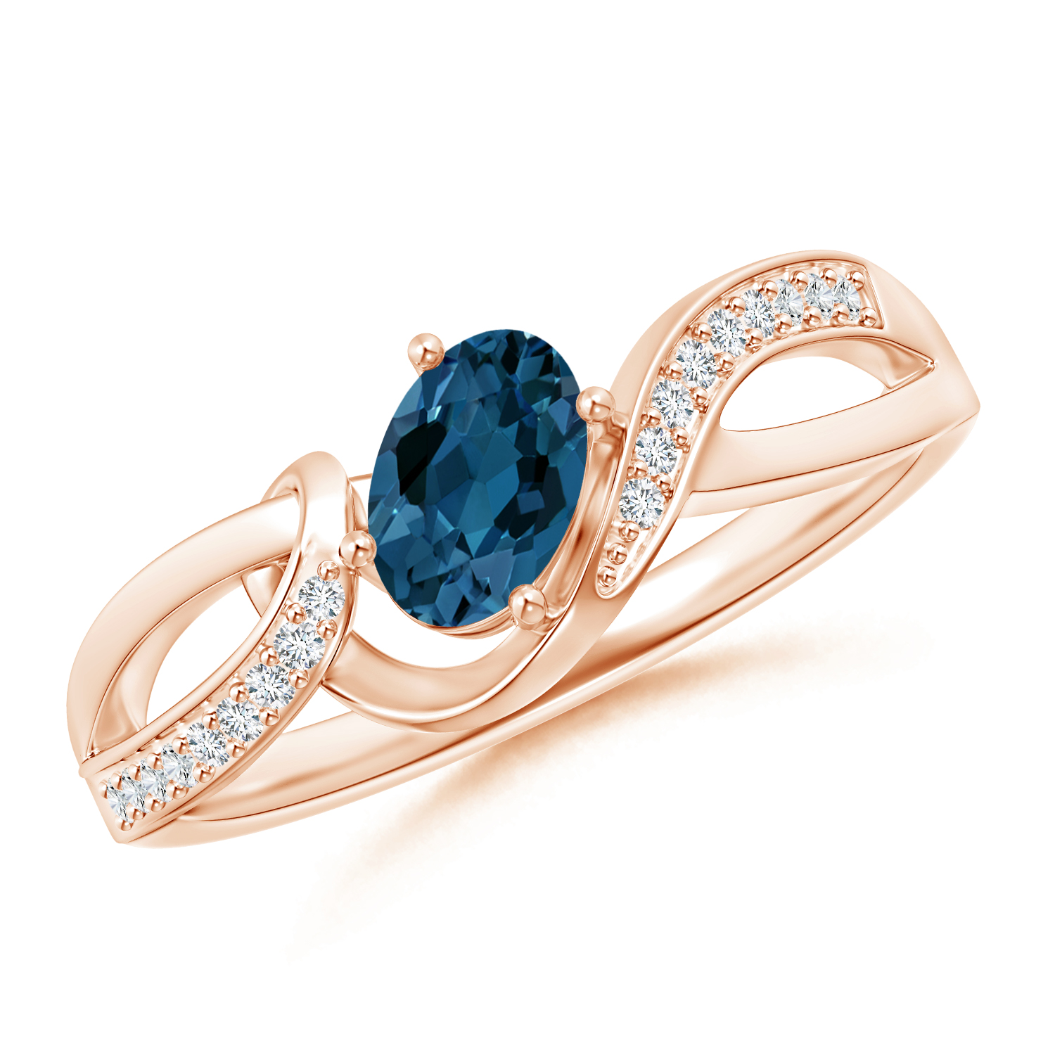 Oval London Blue Topaz Twisted Ribbon Ring with Diamonds - Angara.com