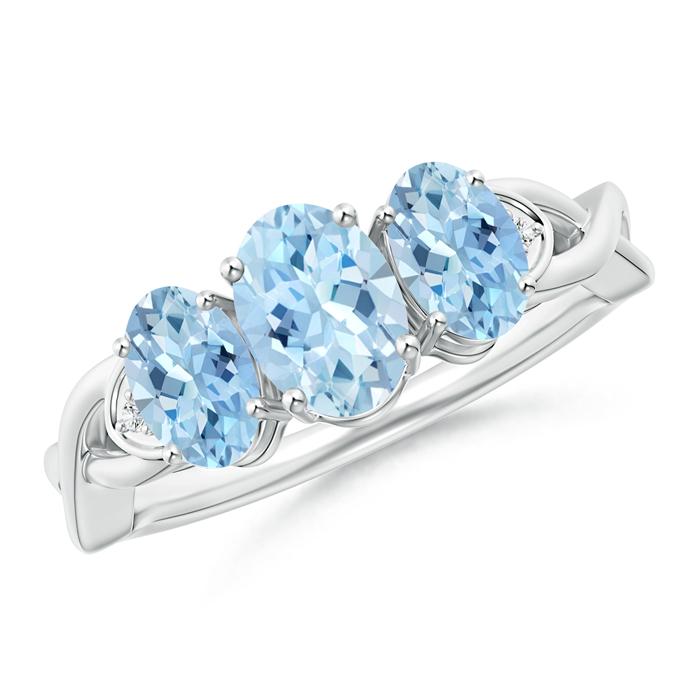Criss-Cross Oval Aquamarine Three Stone Ring with Pave-Set Diamonds - Angara.com