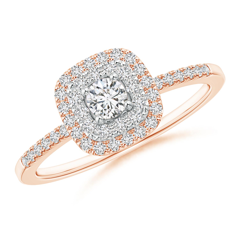 Double Cushion Halo Diamond Ring in Two Tone Gold - Angara.com
