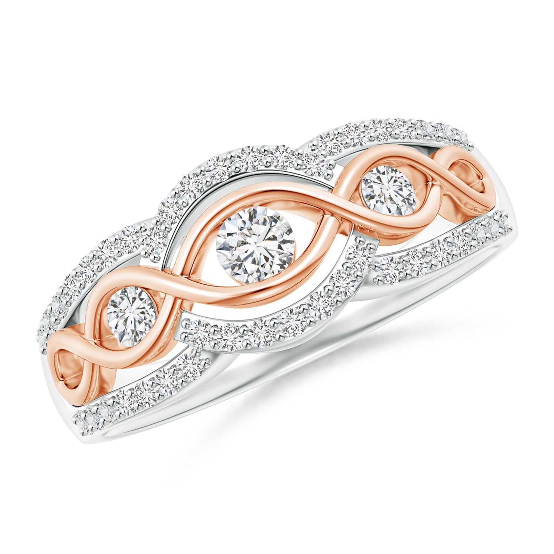 3 Stone Diamond Criss Cross Infinity Ring in Two Tone - Angara.com
