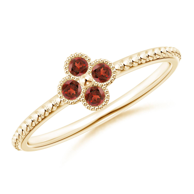 Garnet Four Leaf Clover Ring with Beaded Shank - Angara.com