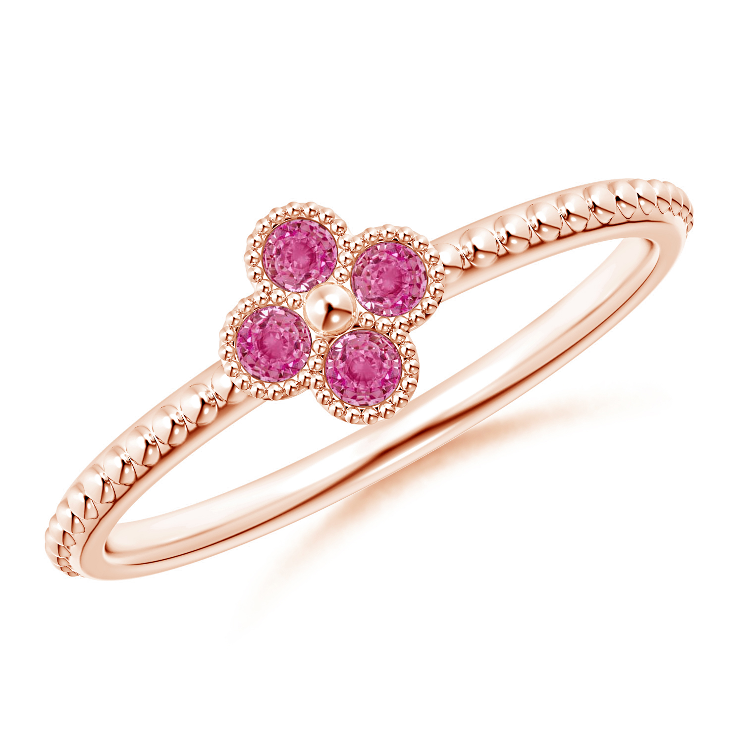 Pink Sapphire Four Leaf Clover Ring with Beaded Shank - Angara.com