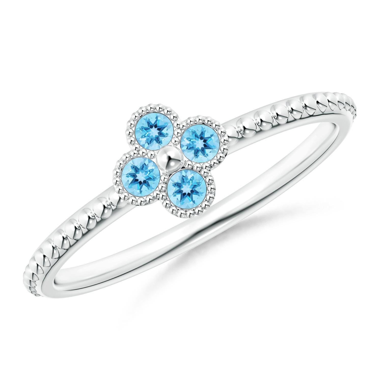 Swiss Blue Topaz Four Leaf Clover Ring with Beaded Shank - Angara.com