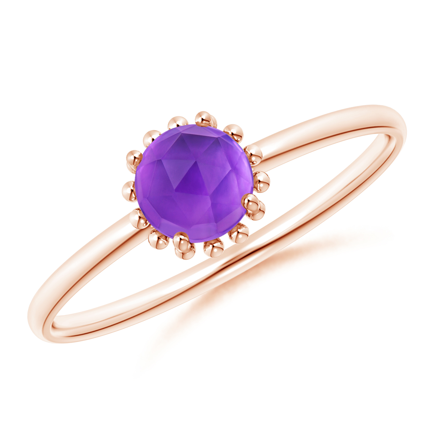 Solitaire Amethyst Ring with Beaded Halo - Angara.com
