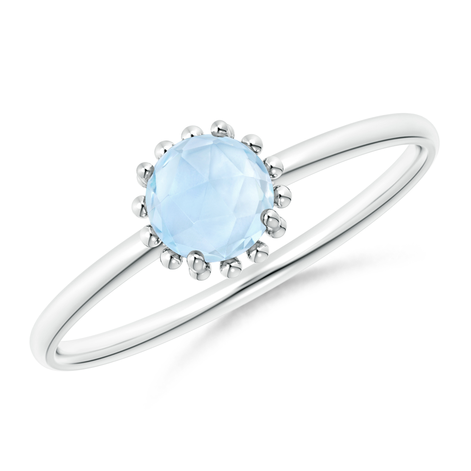 Solitaire Aquamarine Ring with Beaded Halo - Angara.com