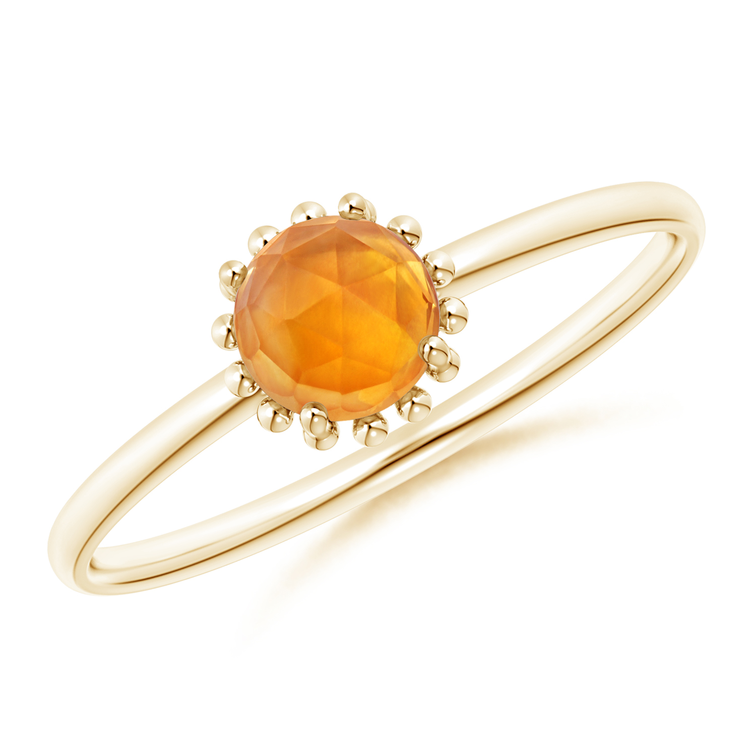 Solitaire Citrine Ring with Beaded Halo - Angara.com