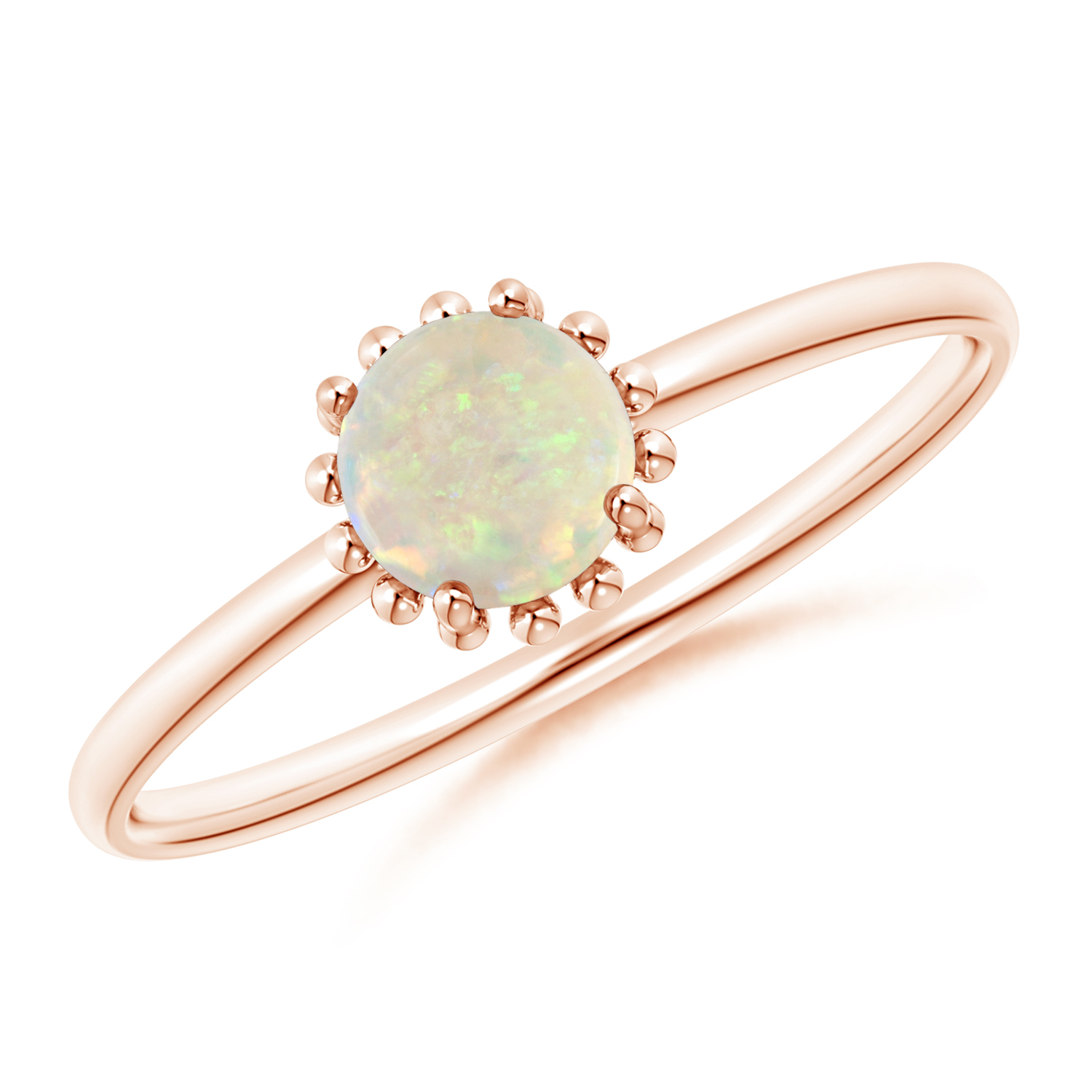 Solitaire Opal Ring with Beaded Halo - Angara.com