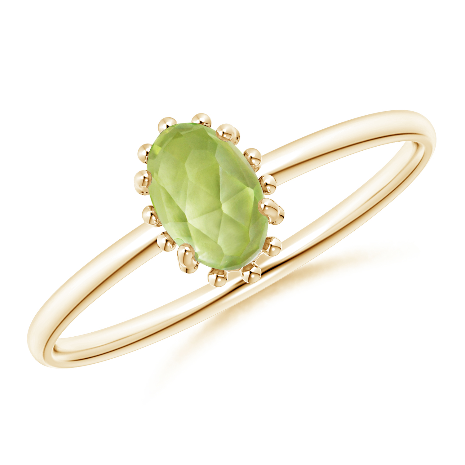 Classic Oval Peridot Ring with Beaded Halo - Angara.com