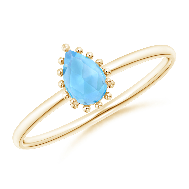 Pear-Shaped Swiss Blue Topaz Beaded Halo Ring - Angara.com