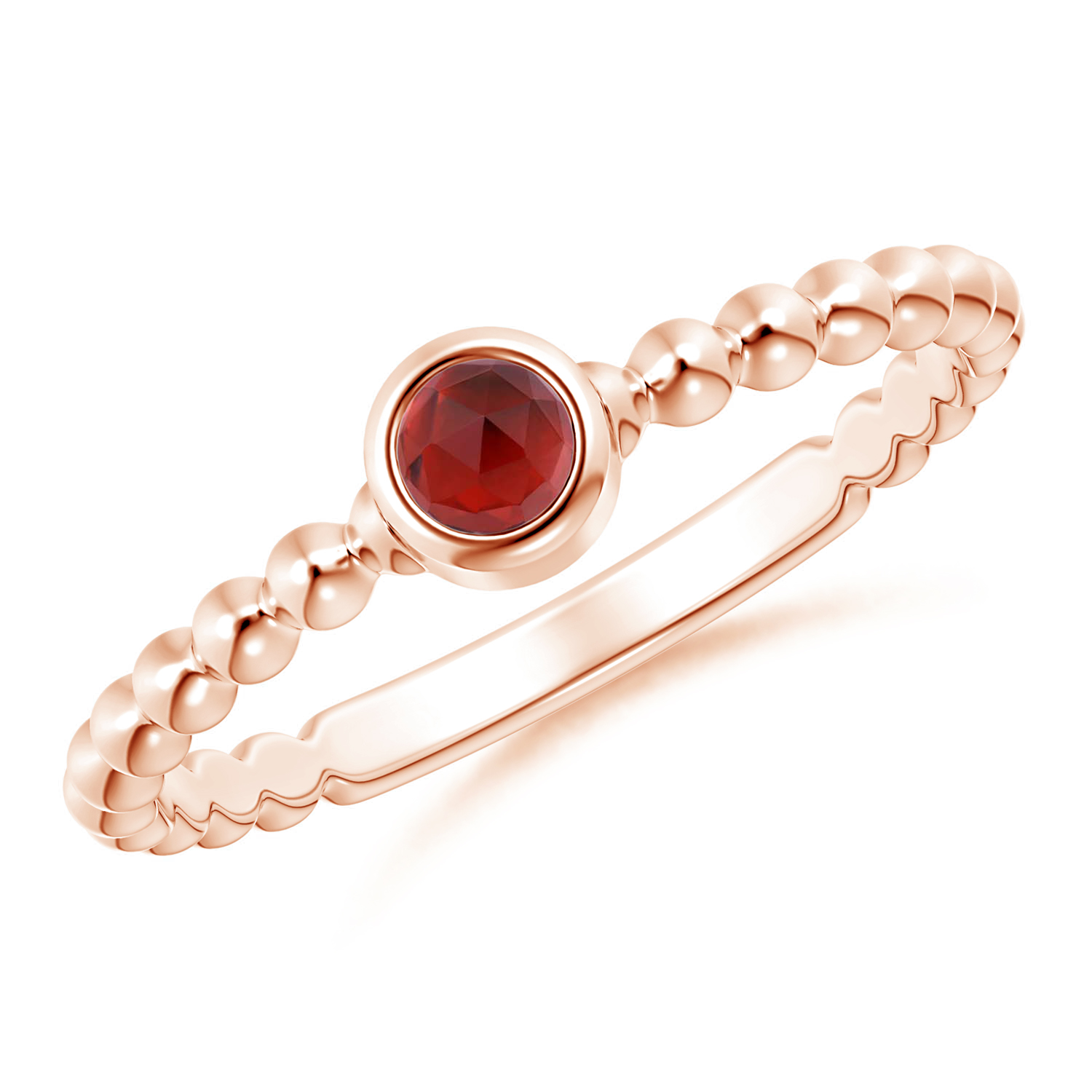 Bezel Set Garnet Stackable Ring with Beaded Shank - Angara.com