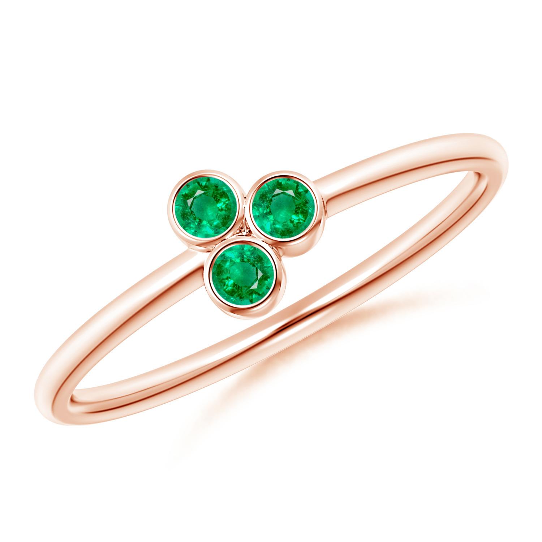 Bezel Set Emerald Trio Cluster Stackable Ring - Angara.com