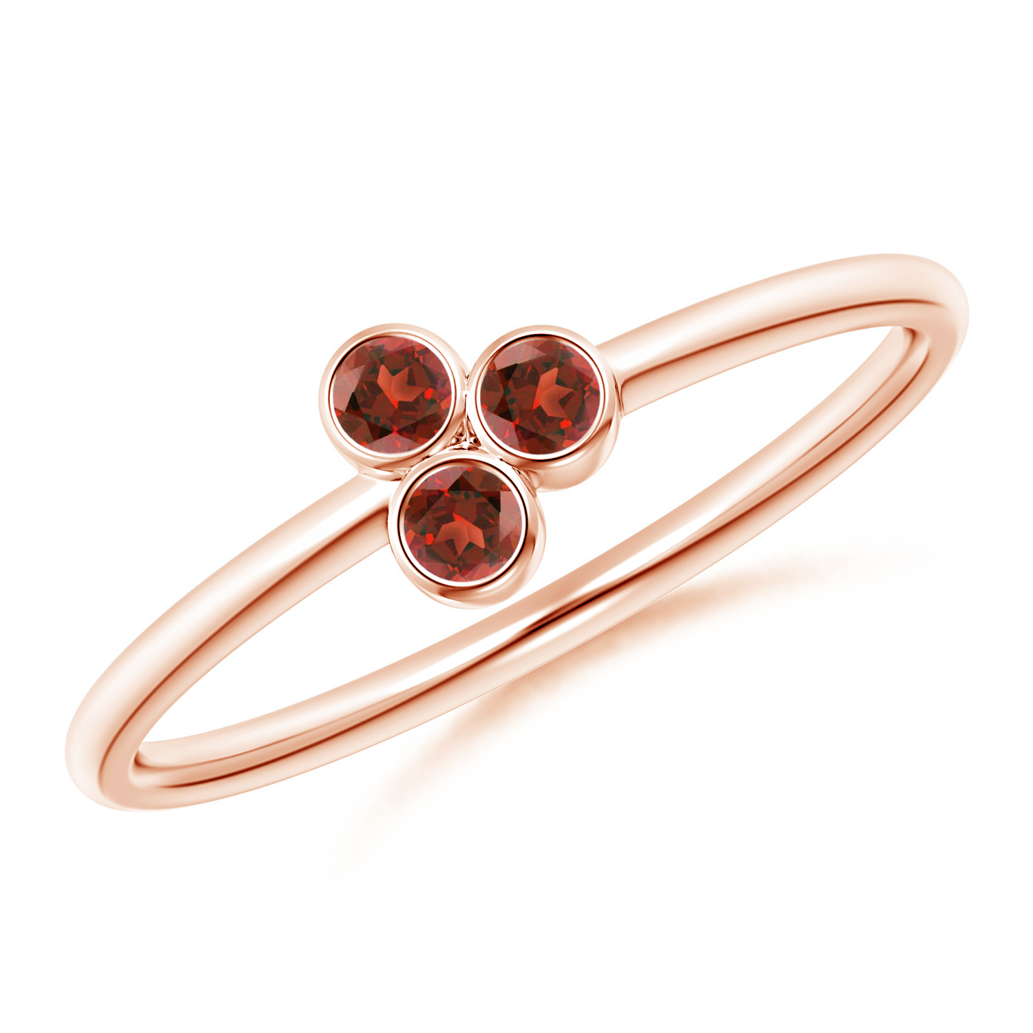 Bezel Set Garnet Trio Cluster Stackable Ring - Angara.com