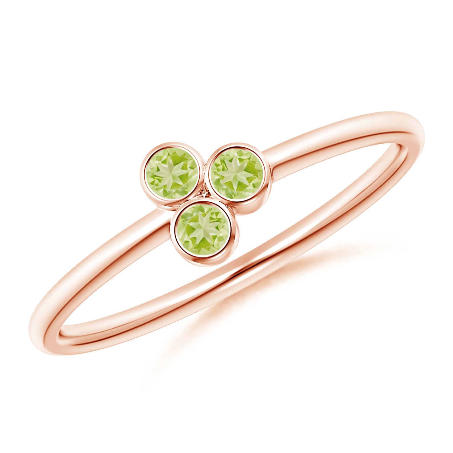 Bezel Set Peridot Trio Cluster Stackable Ring - Angara.com