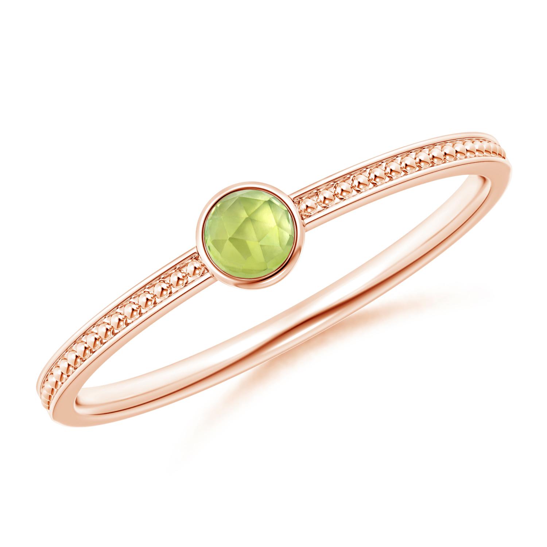 Bezel Set Peridot Ring with Beaded Groove Shank - Angara.com