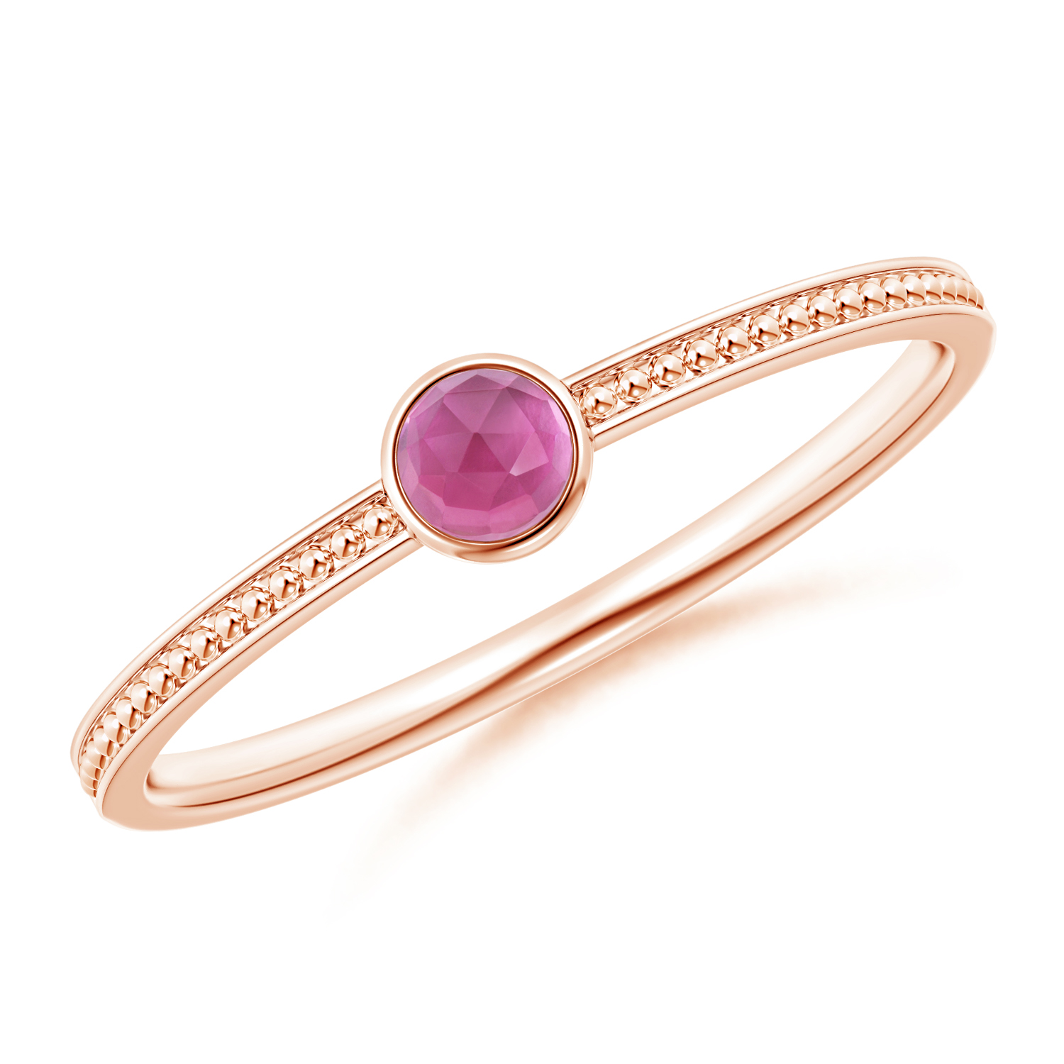 Bezel Set Pink Tourmaline Ring with Beaded Groove Shank - Angara.com