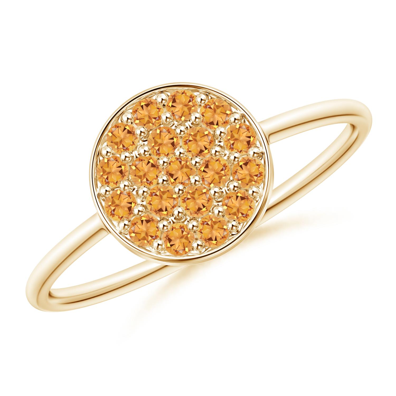 Pave Set Round Citrine Cluster Disc Ring - Angara.com