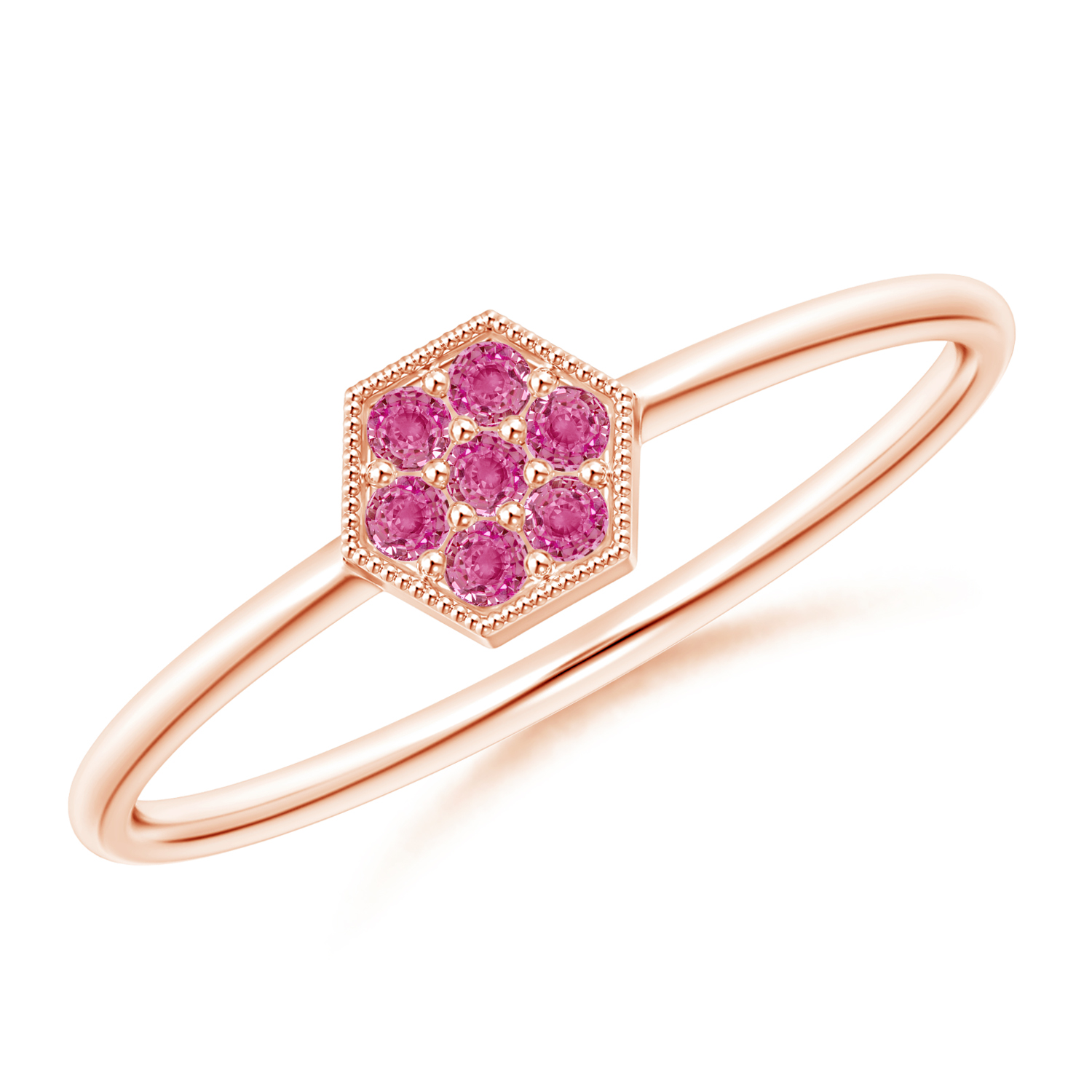Hexagon-Shaped Pink Sapphire Cluster Ring with Milgrain - Angara.com