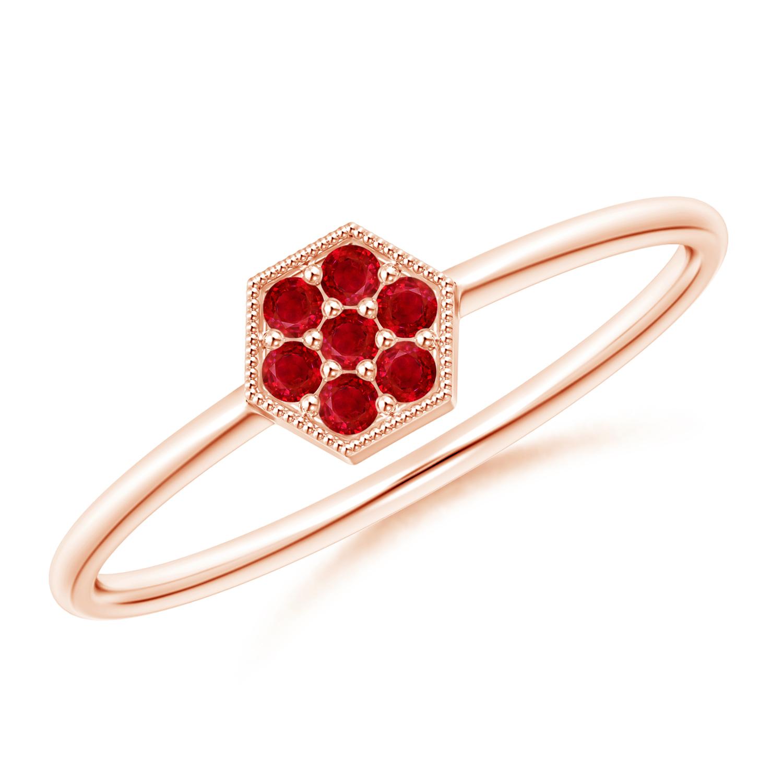 Hexagon-Shaped Ruby Cluster Ring with Milgrain - Angara.com