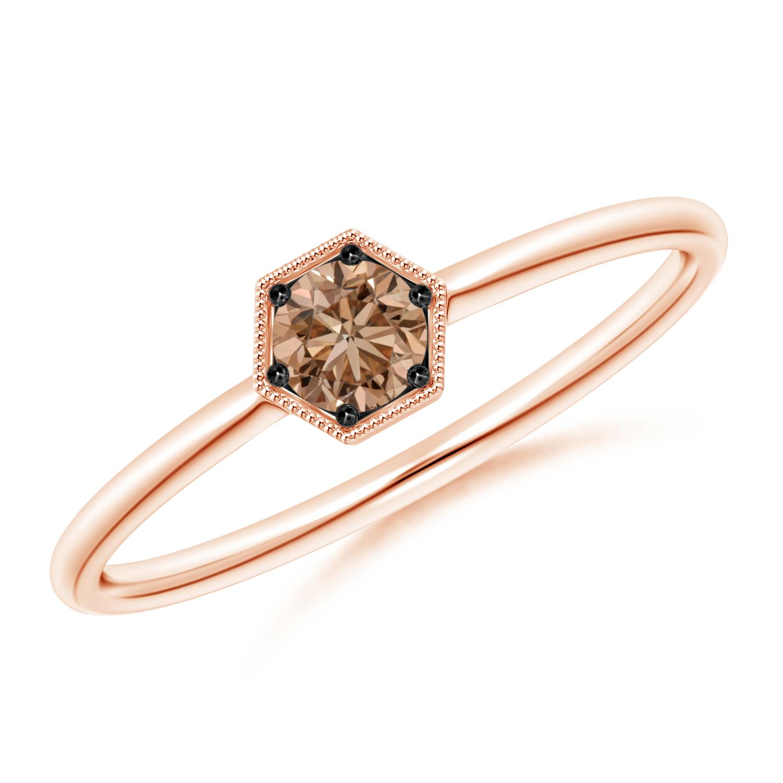 Pave Set Coffee Diamond Hexagon Solitaire Ring with Milgrain - Angara.com