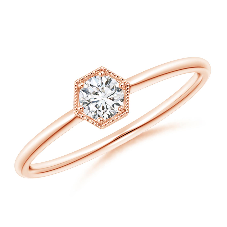 Pave Set Diamond Hexagon Solitaire Ring with Milgrain - Angara.com