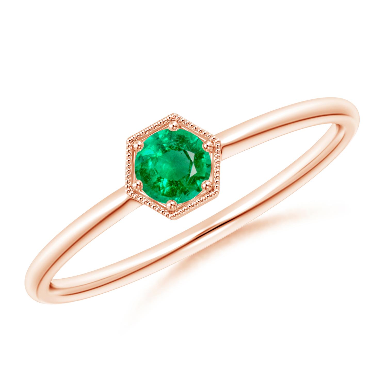 Pave Set Emerald Hexagon Solitaire Ring with Milgrain - Angara.com