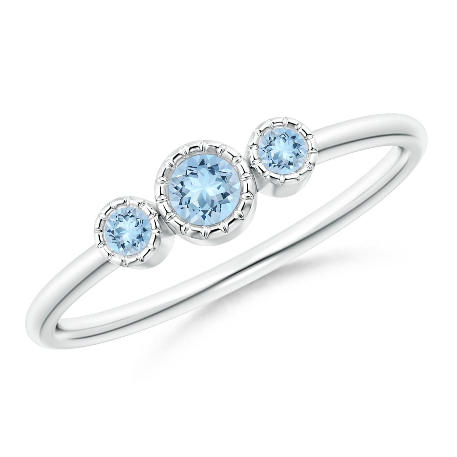 Bezel Set Round Aquamarine Three Stone Ring - Angara.com