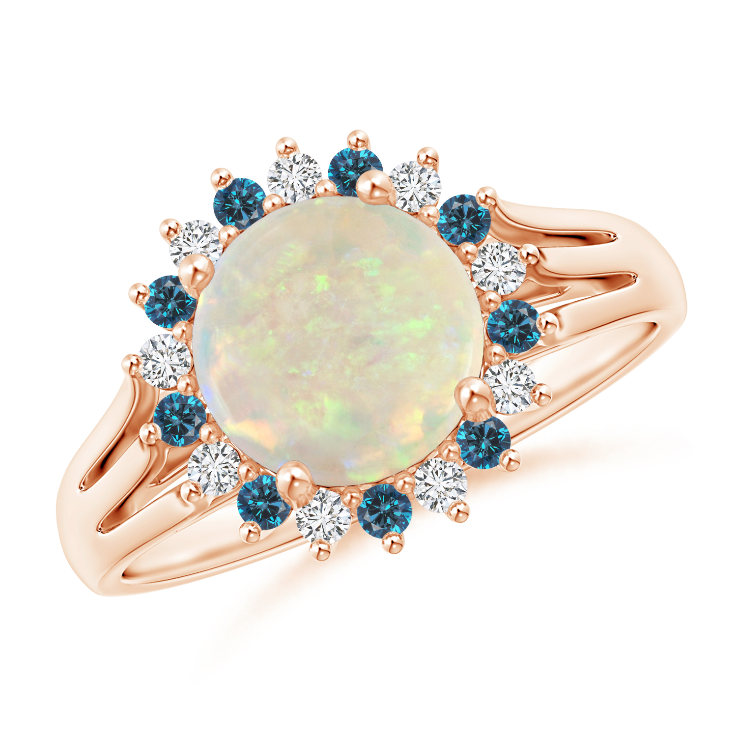 Round Opal Triple Split Shank Ring with Alternating Halo - Angara.com