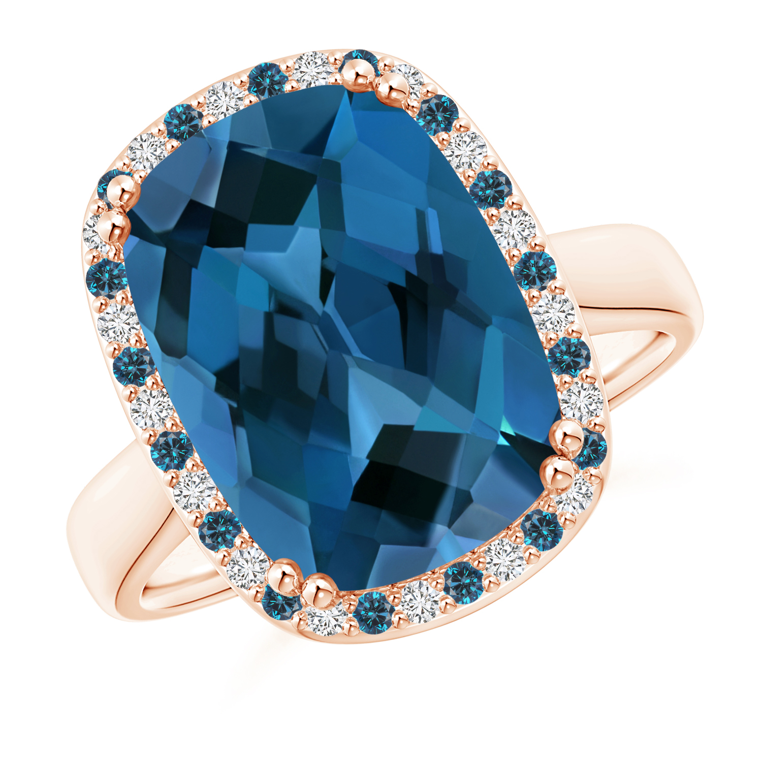 Cushion London Blue Topaz Cocktail Ring with Alternating Halo - Angara.com