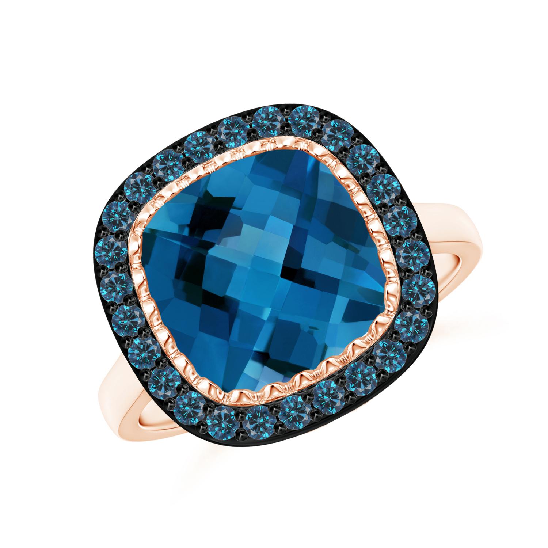 London Blue Topaz Cocktail Ring with Blue Diamond Halo - Angara.com