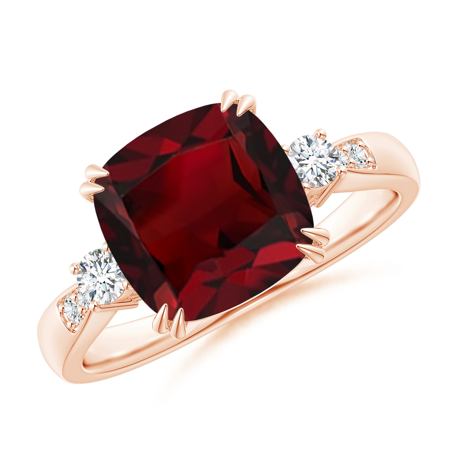 Cushion Garnet Solitaire Ring with Diamond Accents - Angara.com