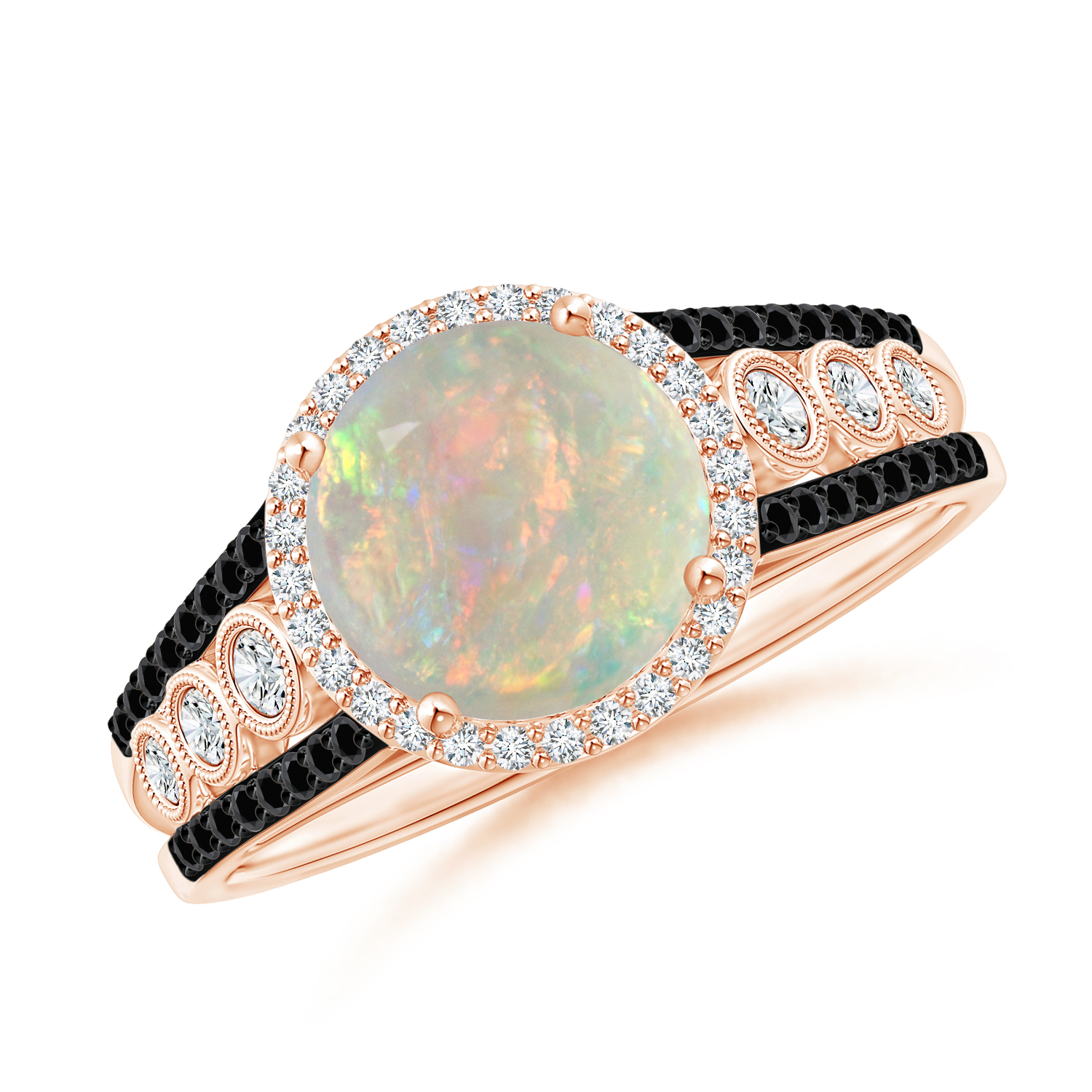 Round Opal Halo Regal Ring with Diamond Accents - Angara.com
